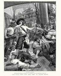 The pirate's reputation of being a vile rapscallion terrified the crew of the invaded ship.