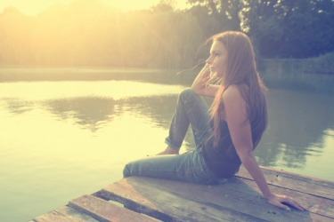 She liked to sit by the lake and recall memories of her first love.