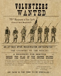 A flyer asking for volunteers to join the 79th Regiment of New York.