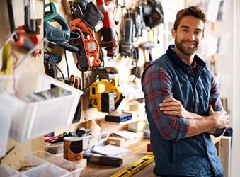 Paul has a lot of tools because he owns a business building custom furniture.