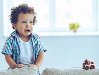 Bradley started to sob when his parents left him with the new babysitter.
