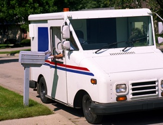 Our very reliable mail carrier delivers the mail between 1:00 - 2:00 every day.