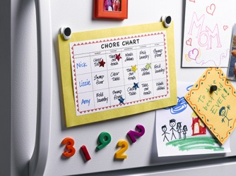 Nick's mom put a chore chart on the refrigerator to remind him and his sisters about the household jobs they need to complete every day.