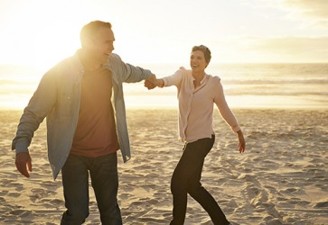 Pat and Barbara reminisce about happy memories in their marriage on their beach vacation.