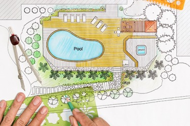 An artist's rendering of a backyard pool and landscape design.