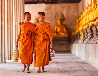 The young monk apprentices are at peace with their renunciation of material possessions in order to attain spiritual enlightenment.