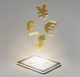 These currency symbols represent the Yuan (or Yen), Pound, Euro and Dollar.