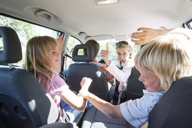 Alicia's stern reproof did little to quell her children's quarreling in the back seat of the car during their family road trip.
