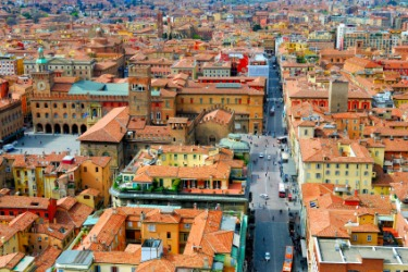 An aerial view of the city of Bologna.