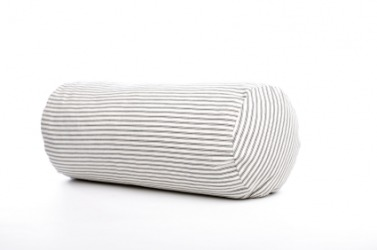 A black and white striped bolster.