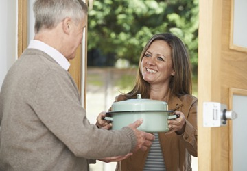Rachel will requite her next door neighbor Stewart by bringing him a casserole because he picked up her mail while she was out of town.