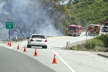Travellers were rerouted when the exit had to be closed due to the brush fire.