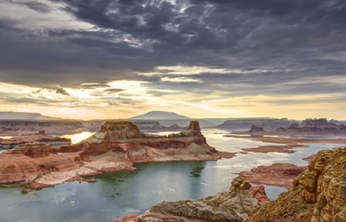 Lake Powell is the reservoir created by the Glen Canyon Dam in Arizona.