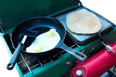 When the electricity was still out as a result of the hurricane, her dad showed resourcefulness by cooking a hot breakfast for the family on their portable propane stove.