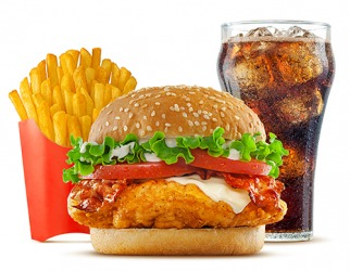 The french fries, chicken sandwich and cola cost $3, $5 and $2 respectively.