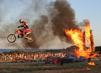 The motorcyclist received mild burns as a result of improperly planning for the stunt.