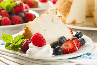 Whipped egg whites gently folded into the batter creates an airy volume resulting in a fluffy angel food cake.
