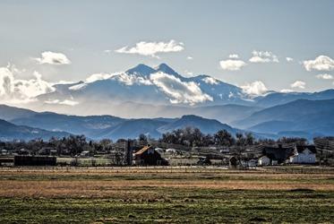The city of Longmont in Colorado has spectacular views of the Longs Peak ridge line.