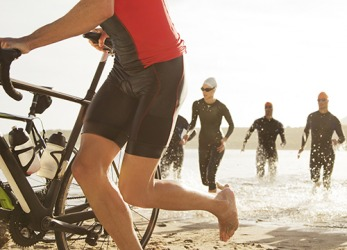 The intense rigor of the triathlon training bootcamp prepares the athletes for the race.