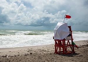 Tropical storms can create dangerous riptides along the shore.