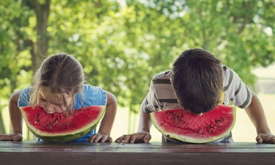Bethany's fiercest rival in the watermelon eating contest is her cousin Jackson.