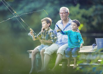 Grandpa Roy bought a rod and reel for each of his grandsons so he could teach them how to fish.
