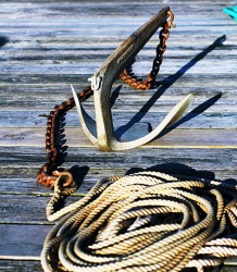 The chain attached to the anchor is the rode.