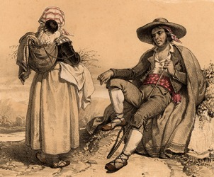 An illustration from the 1800's of a rom and his family who are part of an ethnic group call the Roma or Romani and are know to be nomadic gypsies.