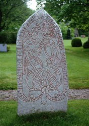 An example of Viking runes carved on a runestone in Sweden.