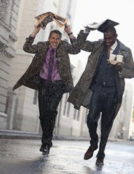 Todd and Carl rushed back to the office when a sudden downpour arose while they were out getting coffee for their coworkers.