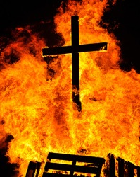 Burning a cross is considered a sacrilegious act in the Christian faith.