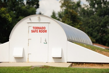 The shelter is a safe harbor whenever a tornado warning is issued.