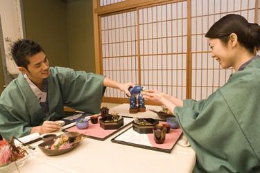 Japanese sake is poured into small ceramic cups and can be served warm or chilled depending on the season.