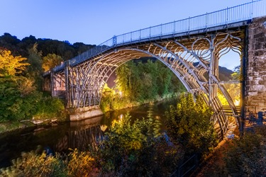 The first iron bridge in the world was built in 1779 in Shropshire (Salop), England.
