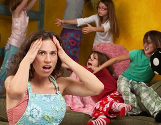 Rebecca wondered how she was going to stay sane with four girls spending the night at her daughter's sleepover party.