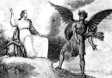 Satan tempts Jesus.