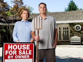 This image of a couple standing in front of a house is an example of satire by mimicking the famous American Gothic painting.