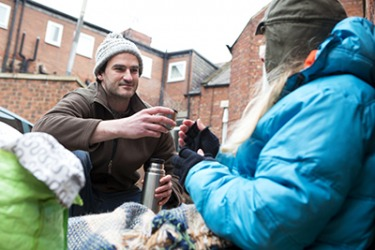Often the homeless are looked upon scornfully so Adam makes an effort to treat them with compassion and dignity.