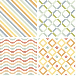 These seamless patterns can be duplicated to create a large patterned background.