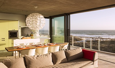 The living quarters are located on the second floor of the beach house to take advantage of the beautiful ocean views.