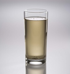 The sediment in the dirty water settled to the bottom of the glass.