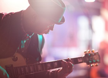 The musician's set list segues perfectly from slow to more upbeat songs during his performance.