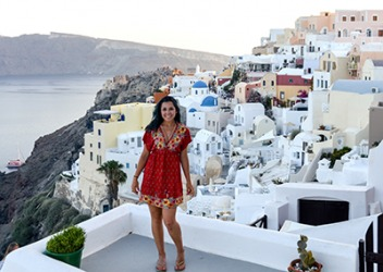 Juliana seldom goes on vacation because she prefers to save up for big trips like the one she took to Santorini Island, Greece.