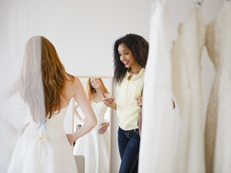 Elise was unsure about which wedding dress to select so she asked her best friend to help her choose.