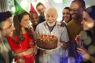 Frank is a self-confessed chocolate fanatic so his friends got him a triple chocolate fudge cake for his birthday.