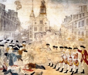 Artwork depicting the Boston Massacre.