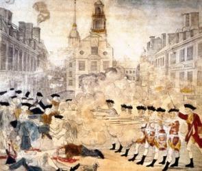 Artwork depicting the Boston Massacre.