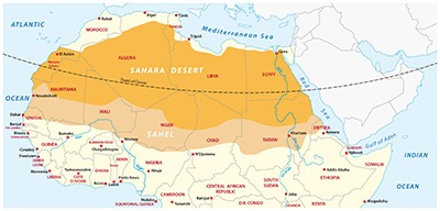 The Sahel Zone south of the Sahara Desert in Africa is an example of a semiarid environment.