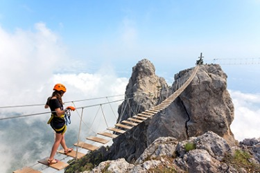 Suzanne didn't think it was a sensible idea to cross the rickety suspension bridge on her trip to Yalta, but she really wanted to prove to herself that she could do it.