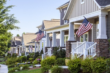The neighborhood has a strong sentiment of patriotism with many families displaying the American flag on the Fourth of July.